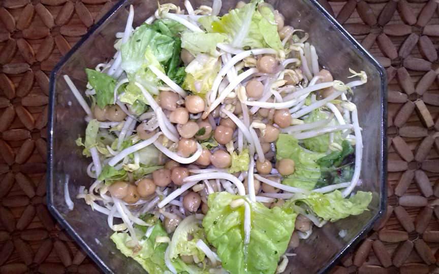 Kirchererbsen Sojasproßen Salat
