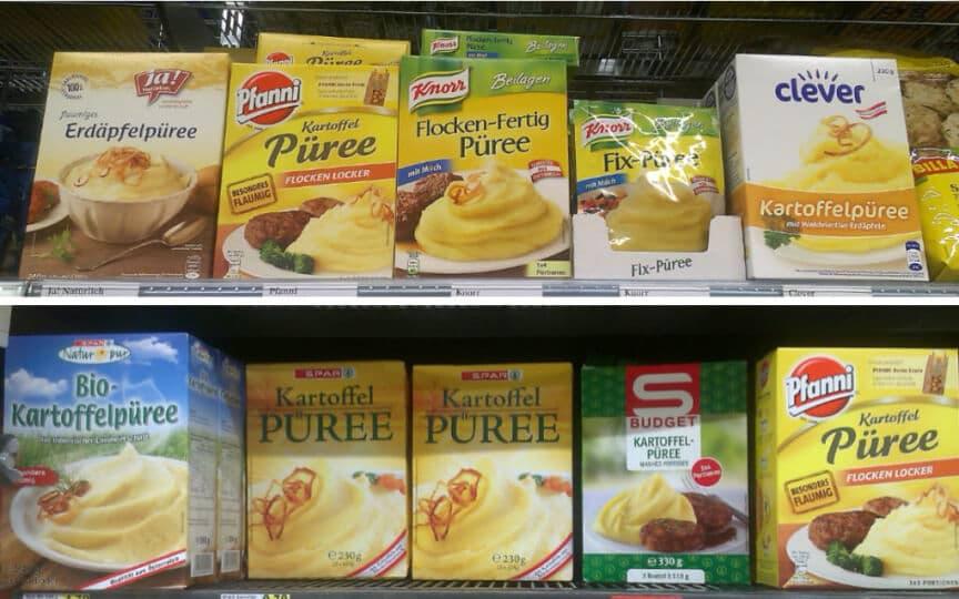 Vegane Kartoffelpürees aus dem Supermarkt