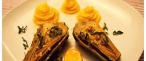 Geschmorte Artischocken in Orangen-Sauce mit Kartoffelpüree