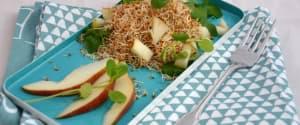 Braunhirse-Salat mit Brunnenkresse & Birne