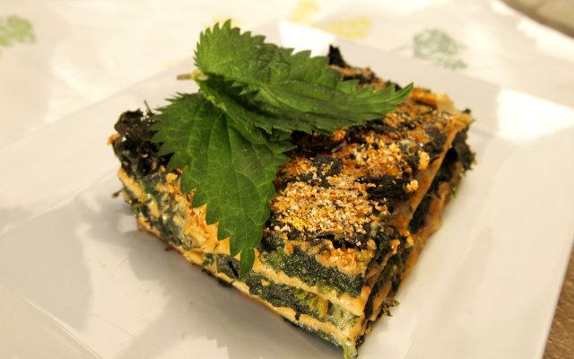 Lasagne mit Brennnessel und Pilzen