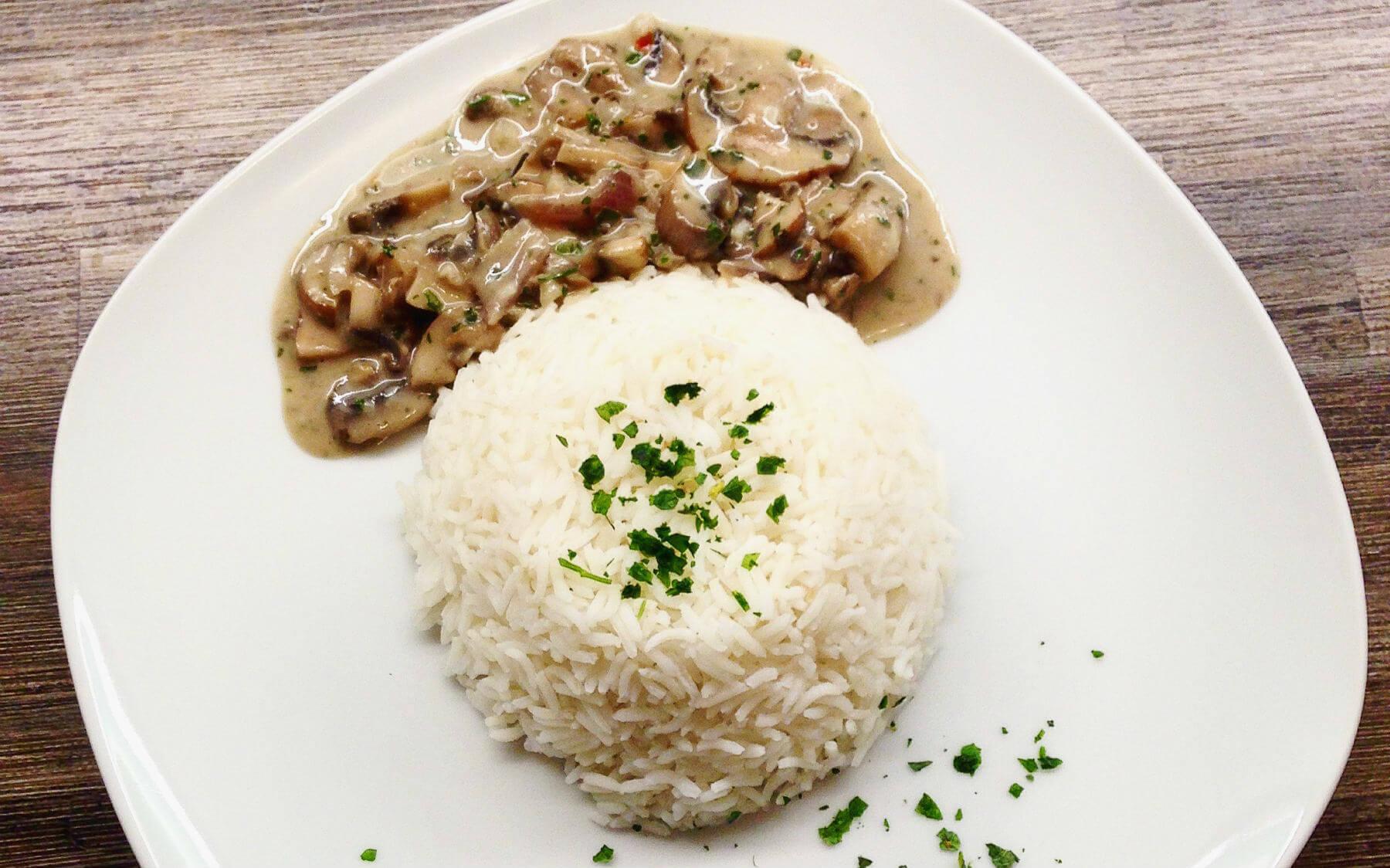 Vegane Champignonsauce Mit Reis