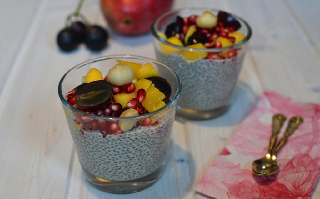 leckerer chia pudding mit obstsalat veganblatt. Black Bedroom Furniture Sets. Home Design Ideas