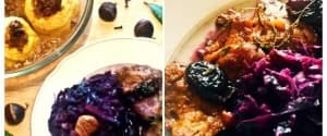 Glasierte vegane Gans mit Rotkraut und Maroni