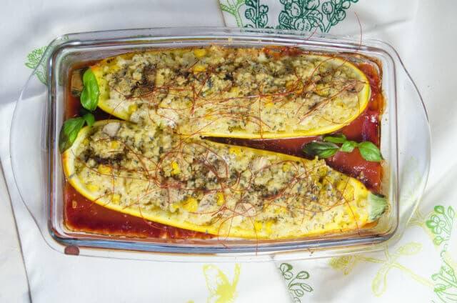 Glutenfrei gefüllte Zucchini