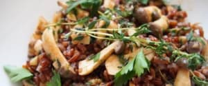 Roter Carmargue Reis mit Pilzen und getrockneten Tomaten