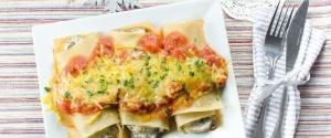 Dinkel-Cannelloni gefüllt mit Pilzen