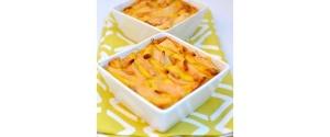 Veganer Birnen-Quark-Auflauf mit Vanille & Pinienkernen