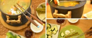 Veganes Suppenfondue
